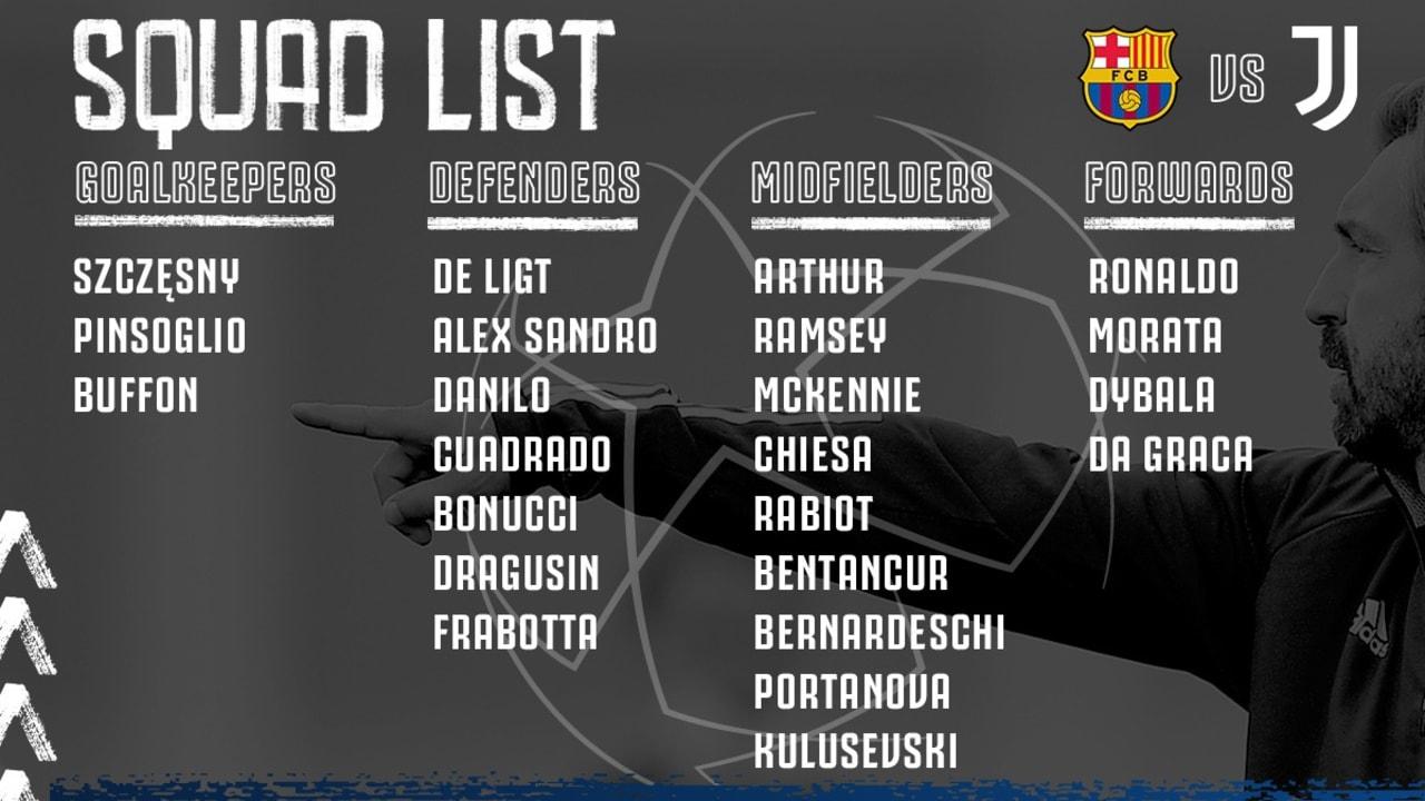للیست بازیکنان برای بازی با بارسلونا