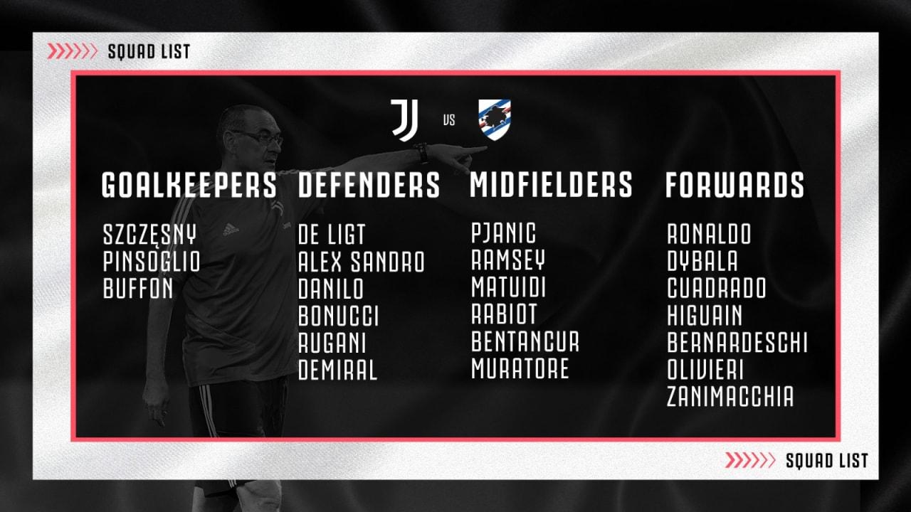 لیست تیم یوونتوس برای بازی با سمپدوریا اعلام شد