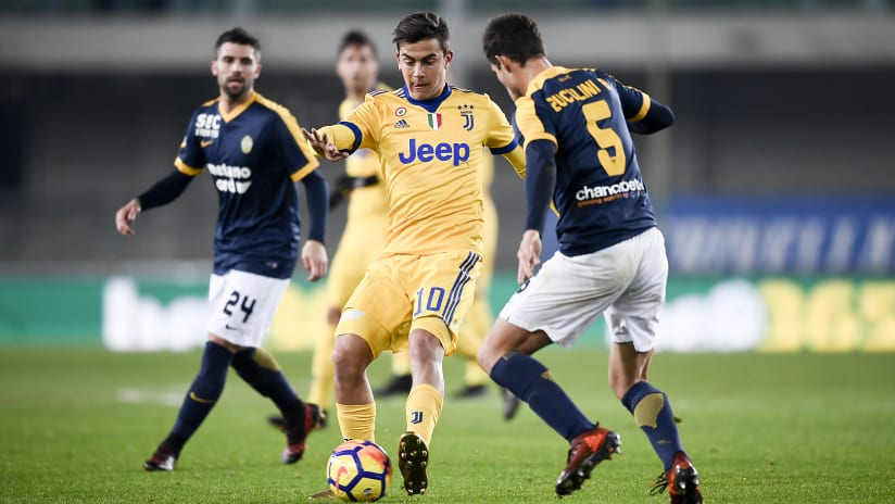 History | Verona - Juventus, Dybala's right-foot brace